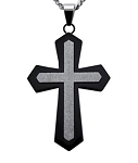 Stainless Steel Black and Sandstone Cross Pendant for Men
