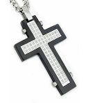 Black Stainless Steel Pendant For Men With Matte Finish and CZ