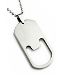 Brushed Finish Stainless Steel Pendant for Men With Cutout Design