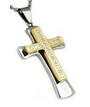 Men's Stainless Steel Two Tone Cross Pendant With Cubic Zirconia