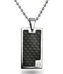Stainless Steel Pendant for Men With Black Carbon Fiber Inlay