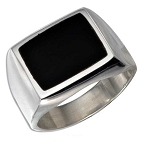 Men's Rectangular Onyx Silver Ring - JP1385