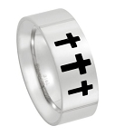 Men's Stainless Steel Triple Cross Ring with Flat Face and Polished Finish | 8mm - JSS0122