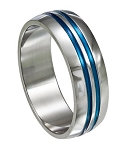 Stainless steel ring with blue grooves - JSS0023