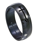 Stainless Steel Black Crusade Cross Ring - JSS0043