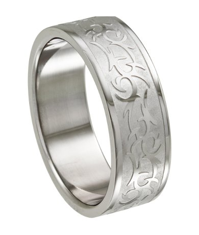 Stainless Steel Ring For Men With Tribal Design 8 5mm