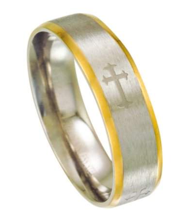 Men S Stainless Steel Cross Ring With Gold Edges 6mm