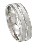 Stainless Steel Satin and High Polish Wedding Ring - JSS0092