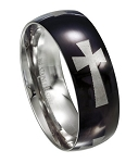 Black Stainless Steel Cross Ring - JSS0093