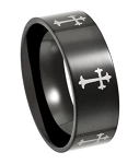 Men's Black Stainless Steel Cross Ring with Silver-Toned Crosses | 8mm - JSS0135