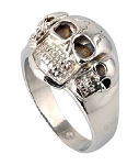 Triple Skull Stainless Steel Ring - JSS0176