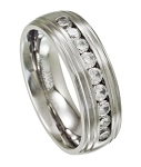 Men's Stainless Steel Wedding Band with 9 CZs | 8mm - JSS0188