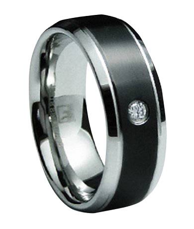 mens black finish stainless steel wedding band with single cz 8mm jss0189 - Onyx Wedding Ring