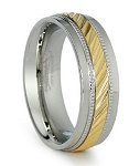 Men's Two-Tone Stainless Steel and Gold Plated Ring | 8mm - JSS0190
