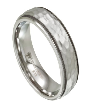 Mens Stainless Steel Wedding Band Artisan Hammered Finish 7mm