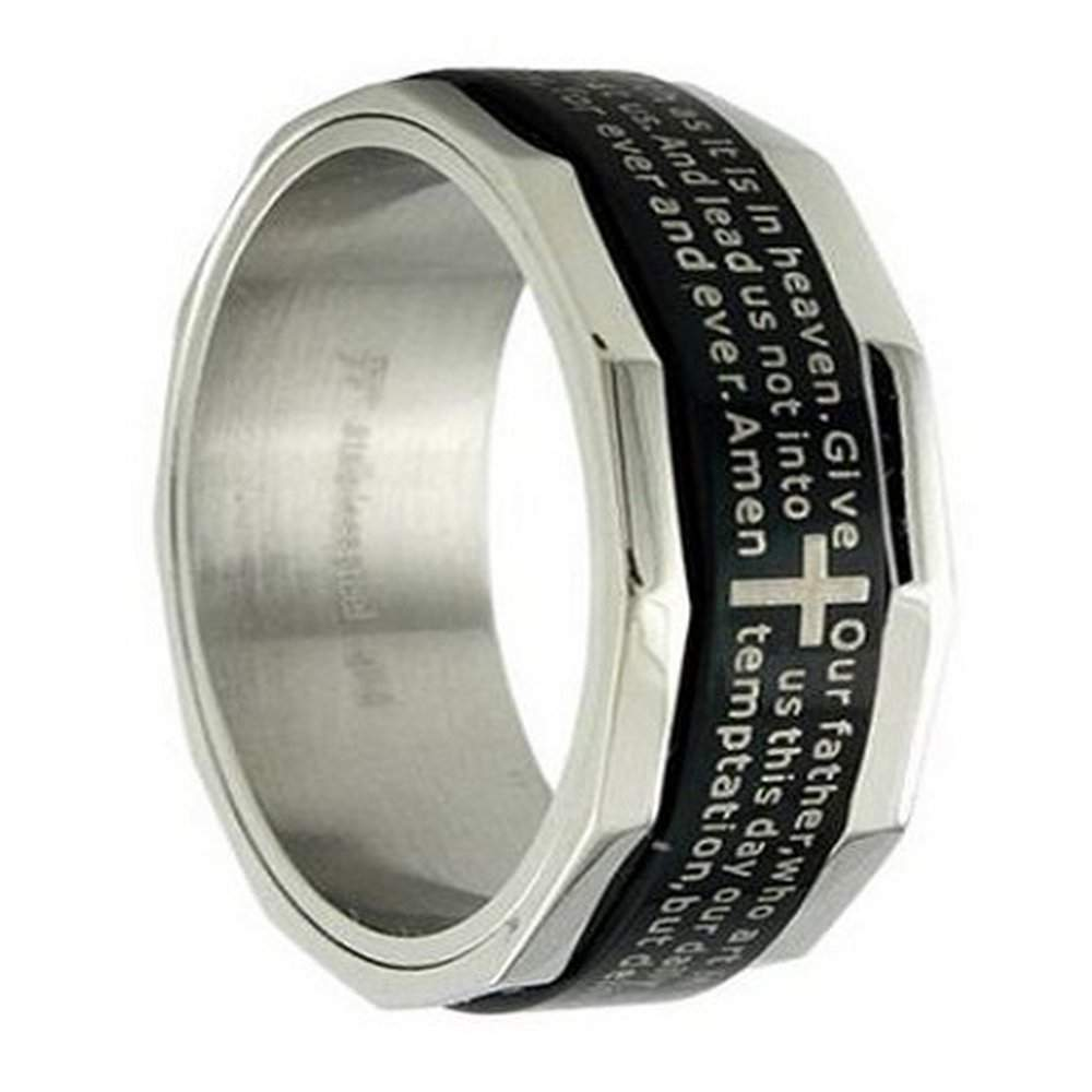 Men S Stainless Steel Ring And Christian Ring 8mm