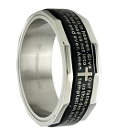 Men's Black Stainless Steel Christian Spinner Ring with Lord's Prayer | 8mm - JSS0197