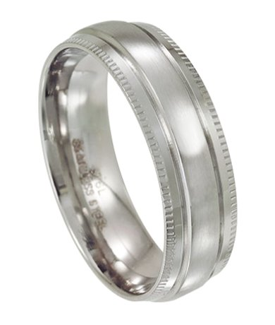Men's Stainless Steel Wedding Ring with Polished Milgrain Edges | 7mm
