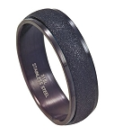 Black Stainless Steel Ring for Men with Sandblasted Finish | 7mm