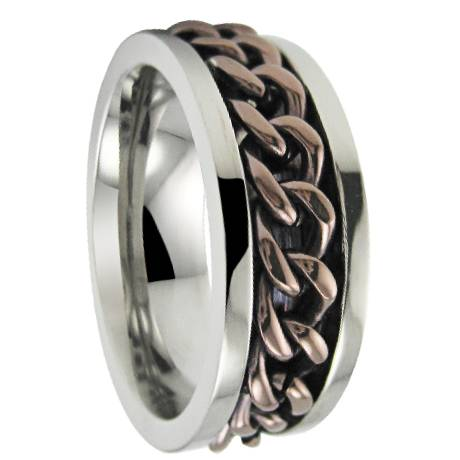 men 39 s stainless steel spinner ring with bronze colored chain. Black Bedroom Furniture Sets. Home Design Ideas