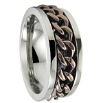 Men's Stainless Steel Spinner Ring with Bronze Chain and Polished Finish | 8mm- JSS0617