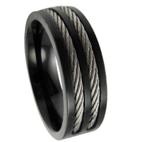 Men S Stainless Steel Black Cable Ring