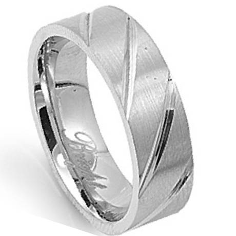 Stainless Steel Mens Wedding Ring Polished Diagonal Cuts 6mm