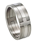 Titanium Cross Ring with High Polish and Satin Finish - JT0009