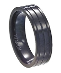 Men's Titanium Black Ridged Wedding Band with Glossy Finish | 7mm - JT0107