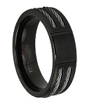 Black Titanium Cable Ring - JT0127