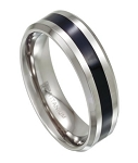 Mens Titanium Wedding Ring with Black Resin Inlay | 8mm - JT0143