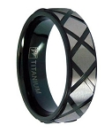 Men's Black Titanium Ring with X-Patterned Brushed Titanium | 7mm - JT0146