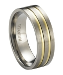 Satin-Finished Titanium Wedding Ring with Two Gold Plated Bands | 8mm - JT0172