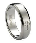 Satin-Finished Men's Titanium Ring with Single Cross and Beveled Edges | 6mm - JT0180