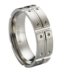 Satin-Finished Titanium Ring with Intersecting Polished Grooves and Notched Design | 8mm - JT0187
