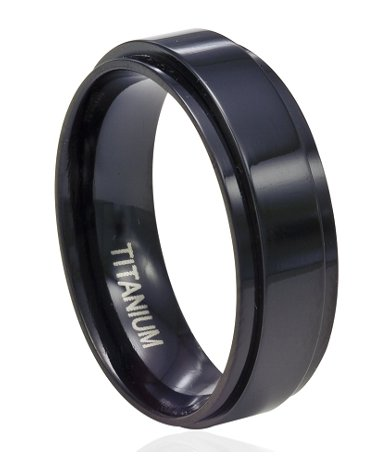Men's Black Titanium Spinner Ring with Flat Profile and Glossy Finish | 8mm - JT0189