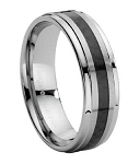 Men's Tungsten Carbide Ring with Carbon Fiber Insert - JTG0012