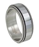 Faceted Tungsten & Stainless Steel Spinner Ring - JTG0032