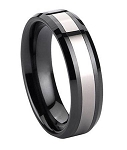 Black Ceramic/Tungsten Ring with Beveled Edges - JTG0037