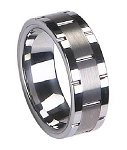 Tungsten Vertical Grooved Satin-Finish Wedding Band with Polished Edges | 8mm - JTG0046