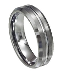 Men's Tungsten Wedding Ring with Brushed and Polished Textured Finish | 8mm - JTG0072