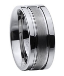Men's Tungsten Carbide Wedding Band with Satin Center and Two Polished Outer Bands | 8mm - JTG0077