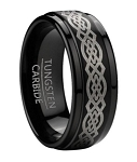 Black Tungsten Men's Celtic Knot Ring with Step Down Edges | 9mm