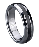Faceted Tungsten Wedding Band with Black Carbon Fiber Inlay | 6mm