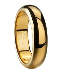 Tungsten Wedding Band for Men with Gold Tone Plating | 6mm