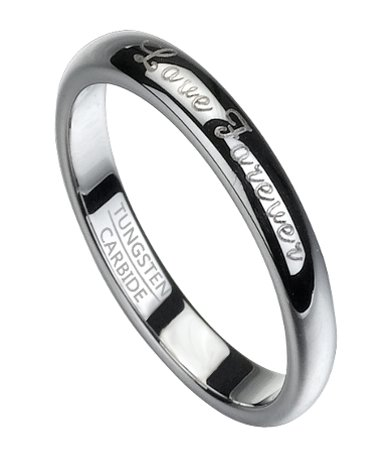Love Forever Men's Tungsten Wedding Band, Polished Finish | 6mm
