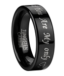 Men's Sweetheart Ring in Polished Black Tungsten | 6mm