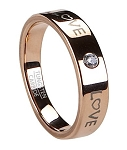 Rose Gold Tone Men's Tungsten Love Ring with Single CZ | 5mm