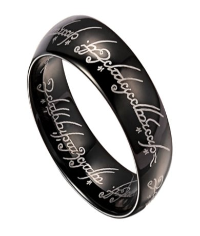 8mm Lord of The Rings Black Tungsten Band with Elvish Script