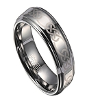 Celtic Knot Men's Tungsten Wedding Band with Polished Finish | 8mm